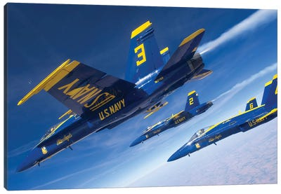 F/A-18 Hornets Of The Blue Angels Fly In Formation Over Colorado Canvas Art Print