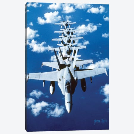 F/A-18C Hornet Aircraft Fly In Formation During Operation Desert Shield Canvas Print #TRK798} by Stocktrek Images Canvas Print