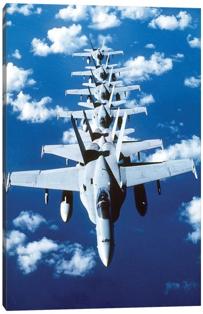 F/A-18C Hornet Aircraft Fly In Formation During Operation Desert Shield Canvas Art Print