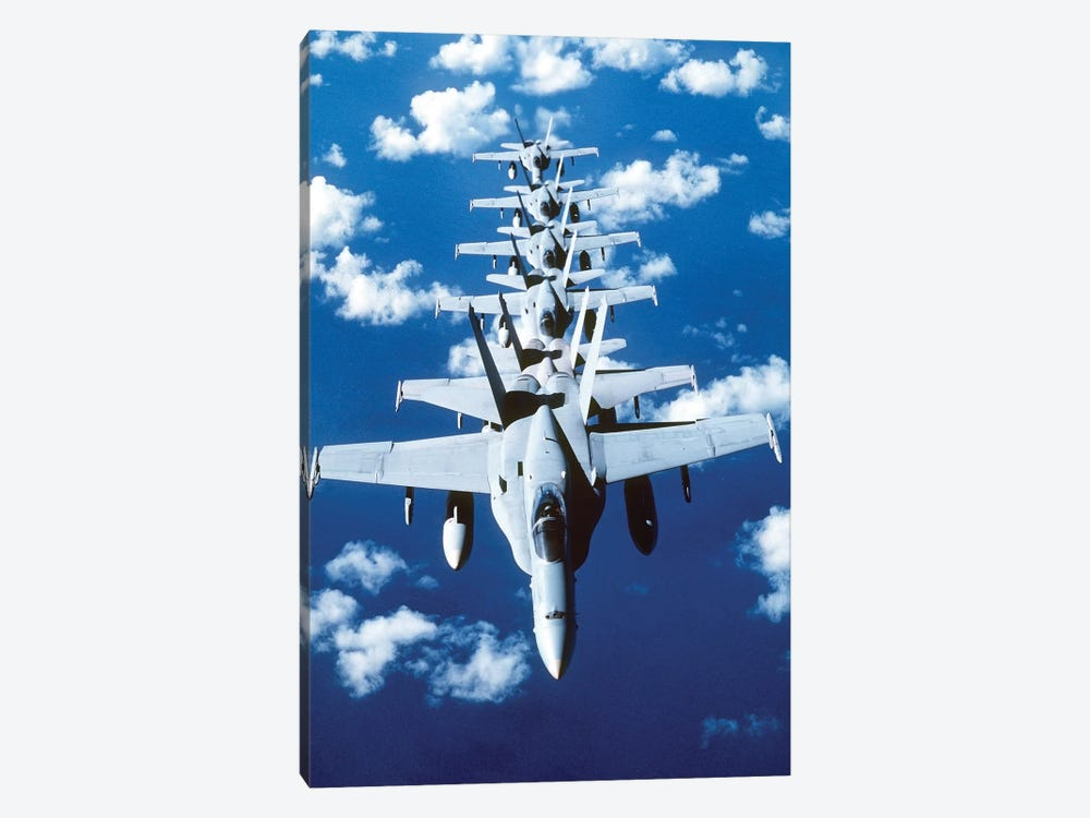 F/A-18C Hornet Aircraft Fly In Formation During Operation Desert Shield by Stocktrek Images 1-piece Canvas Print