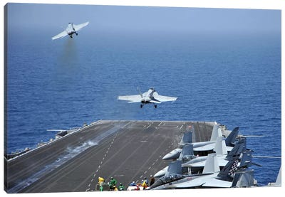 F/A-18F Super Hornets Launch From The Aircraft Carrier USS Enterprise Canvas Art Print