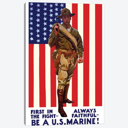 Vintage WWI Poster Of A US Marine Holding His Sidearm Canvas Print #TRK79} by John Parrot Canvas Print