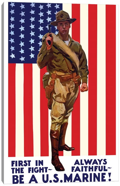 Vintage WWI Poster Of A US Marine Holding His Sidearm Canvas Art Print