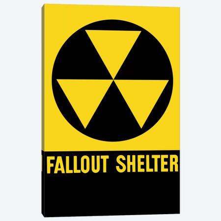 Cold War Era Fallout Shelter Sign Canvas Print #TRK7} by John Parrot Canvas Art Print
