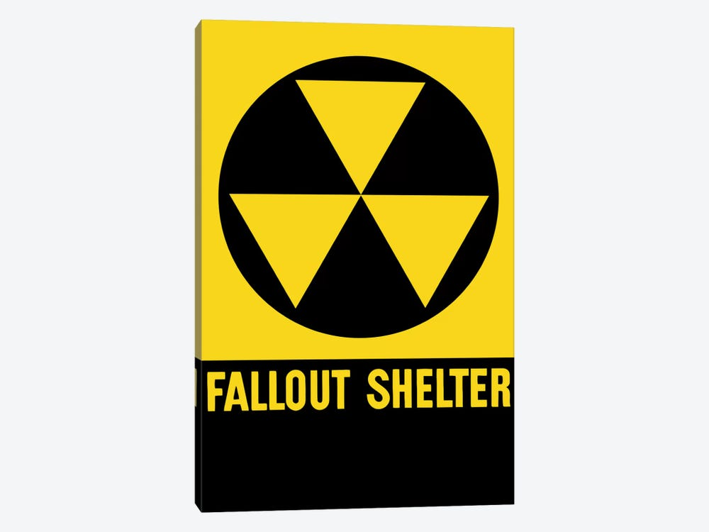 Cold War Era Fallout Shelter Sign by John Parrot 1-piece Canvas Print