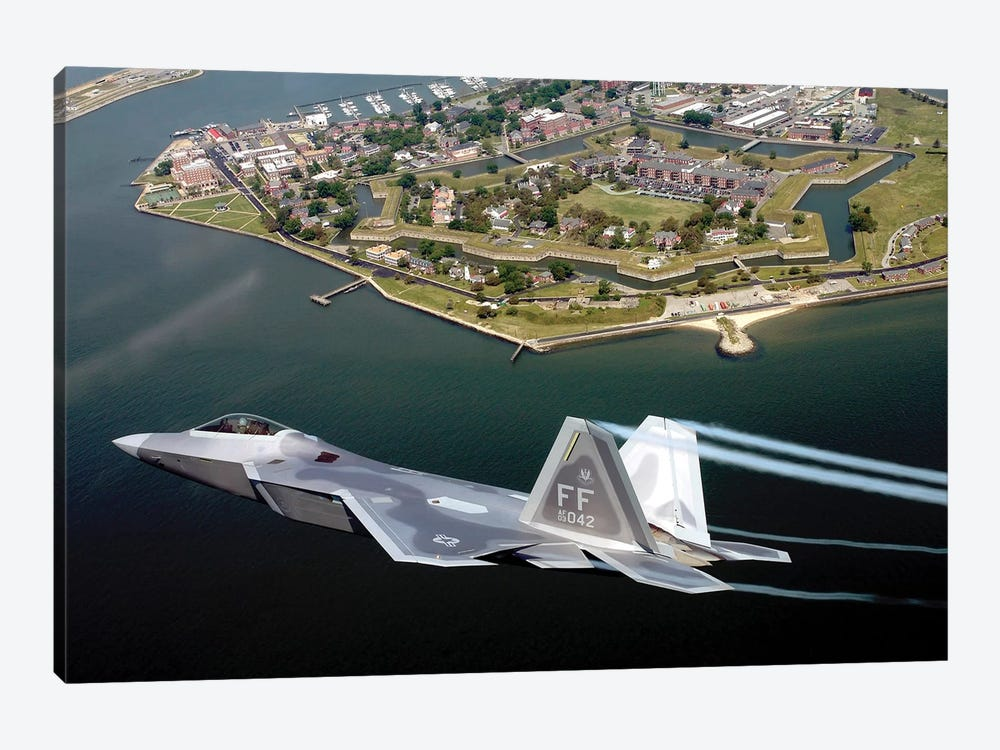 F/A-22 Raptor Flies Over Fort Monroe by Stocktrek Images 1-piece Canvas Wall Art
