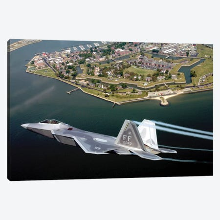 F/A-22 Raptor Flies Over Fort Monroe Canvas Print #TRK800} by Stocktrek Images Art Print