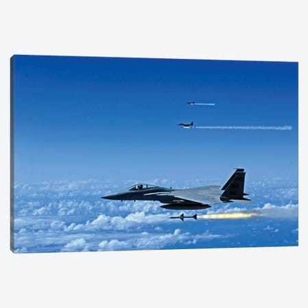 F-15 Eagle Aircraft Fire Aim-7 Sparrow Missiles Canvas Print #TRK804} by Stocktrek Images Canvas Art