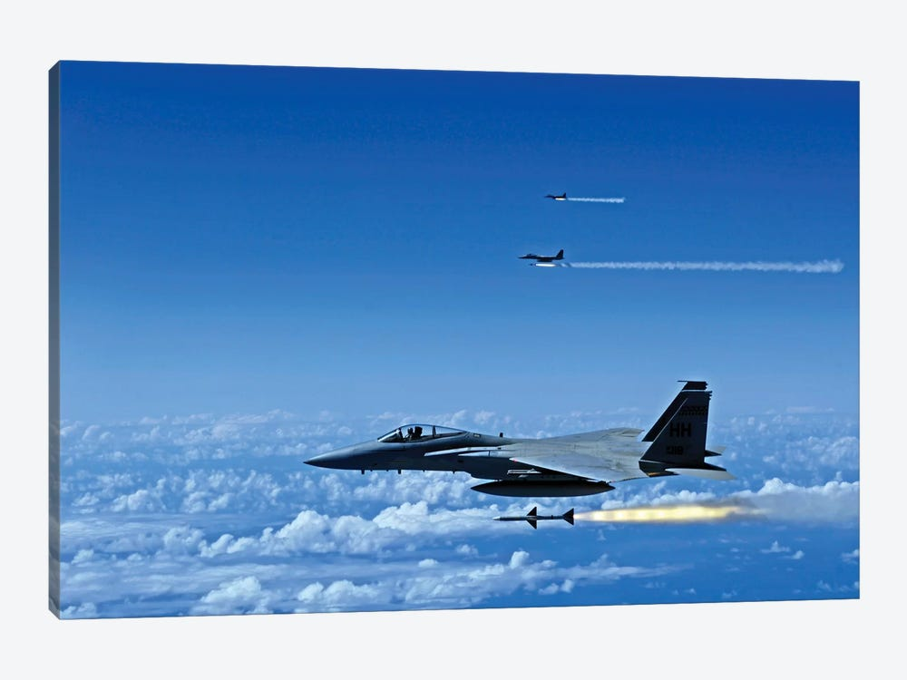 F-15 Eagle Aircraft Fire Aim-7 Sparrow Missiles by Stocktrek Images 1-piece Canvas Artwork