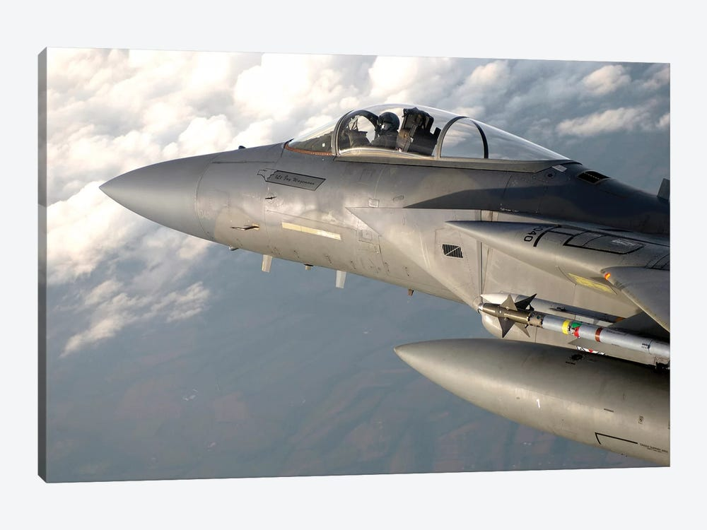 F-15 Eagle Patrols The Sky During A Combat Air Patrol Mission by Stocktrek Images 1-piece Canvas Wall Art