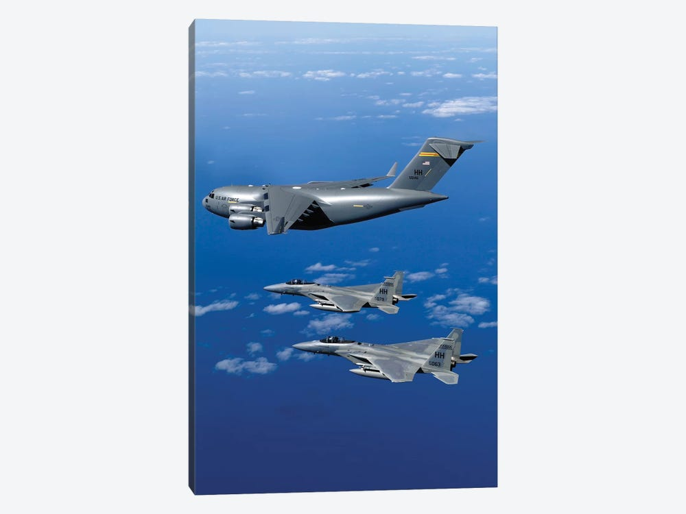 F-15B Eagles Escort The First Hawaii-Based C-17 Globemaster III To Its Home I by Stocktrek Images 1-piece Canvas Art