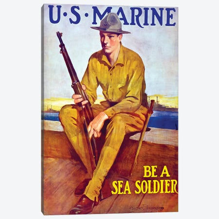 Vintage WWI Poster Of A US Marine Sitting Near The Harbor Canvas Print #TRK80} by John Parrot Canvas Artwork