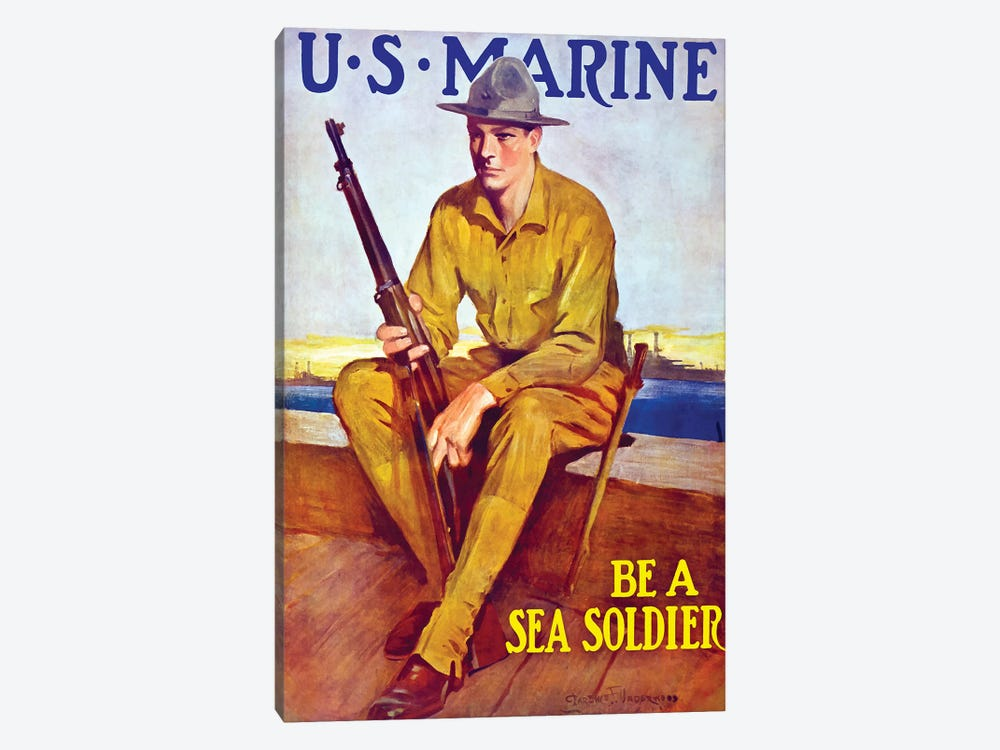 Vintage WWI Poster Of A US Marine Sitting Near The Harbor by John Parrot 1-piece Canvas Art Print