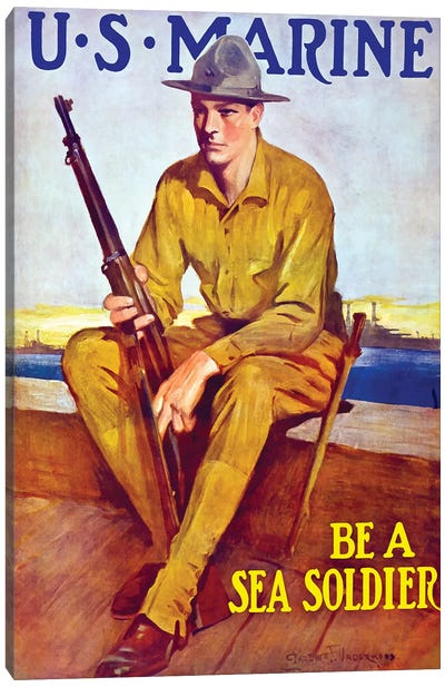 Vintage WWI Poster Of A US Marine Sitting Near The Harbor Canvas Art Print