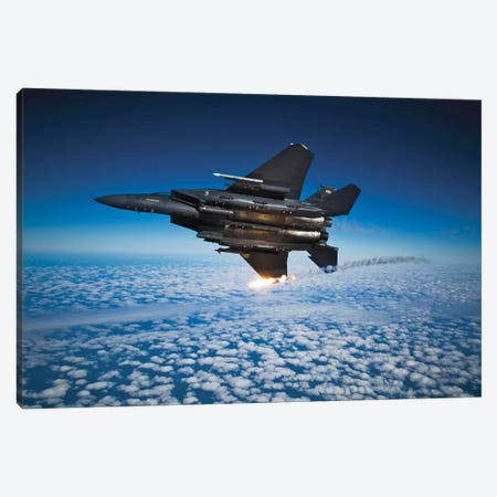 F-15E Strike Eagle Aircraft Releases Flares I Canvas Print #TRK810} by Stocktrek Images Canvas Artwork