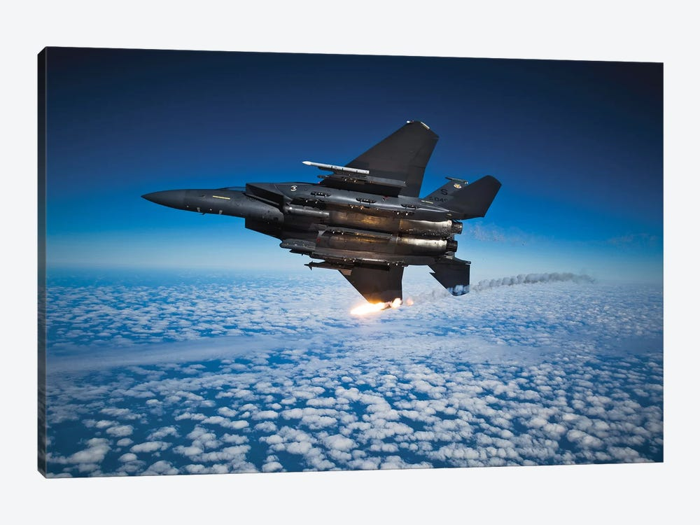 F-15E Strike Eagle Aircraft Releases Flares I by Stocktrek Images 1-piece Canvas Print