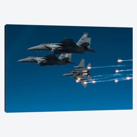 F-15E Strike Eagle Aircraft Releases Flares II Canvas Print #TRK811} by Stocktrek Images Canvas Artwork