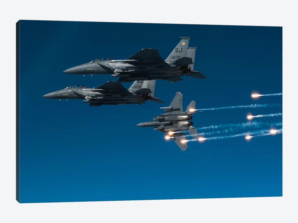 F-15E Strike Eagle Aircraft Releases Flares II by Stocktrek Images 1-piece Canvas Artwork