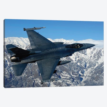 F-16 Fighting Falcon Conducts Operations Over Eastern Afghanistan Canvas Print #TRK813} by Stocktrek Images Canvas Art