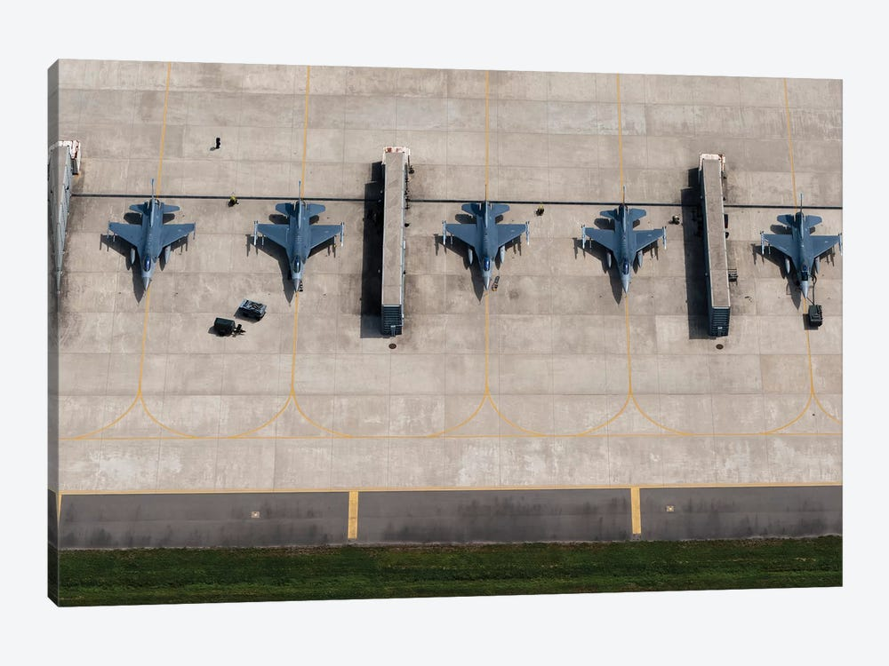 F-16 Fighting Falcons At Kunsan Air Base, South Korea by Stocktrek Images 1-piece Canvas Print