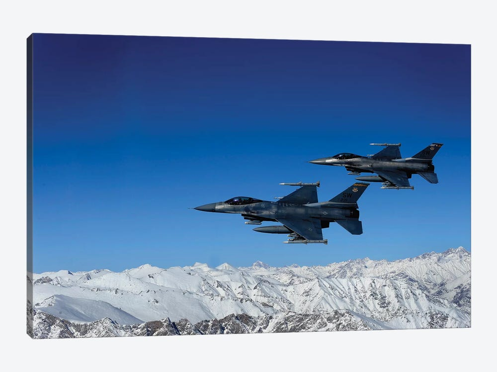 F-16 Fighting Falcons Conduct Operations Over Eastern Afghanistan by Stocktrek Images 1-piece Canvas Artwork