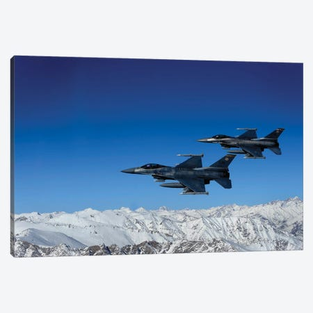 F-16 Fighting Falcons Conduct Operations Over Eastern Afghanistan Canvas Print #TRK815} by Stocktrek Images Canvas Print