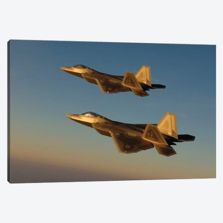 F-22A Raptors Fly Over Langley Air Force Base, Virginia Canvas Print #TRK818} by Stocktrek Images Canvas Art