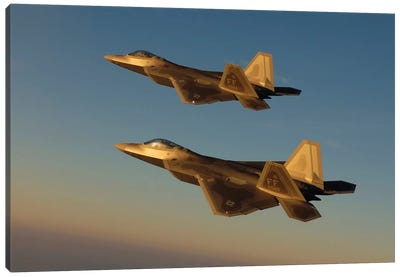 F-22A Raptors Fly Over Langley Air Force Base, Virginia Canvas Art Print