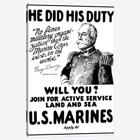Vintage WWI Poster Of Admiral George Dewey Canvas Print #TRK81} by John Parrot Canvas Art