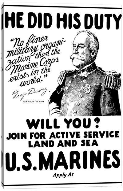 Vintage WWI Poster Of Admiral George Dewey Canvas Art Print