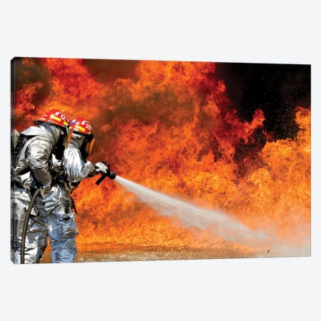 Firefighters Combat A Jp-8 Jet Fuel Fire Canvas Print #TRK821} by Stocktrek Images Art Print
