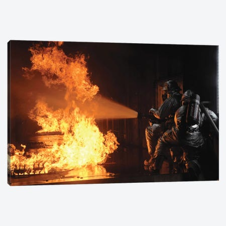 Firefighters Extinguish A Simulated Battery Fire 3-Piece Canvas #TRK822} by Stocktrek Images Canvas Art Print