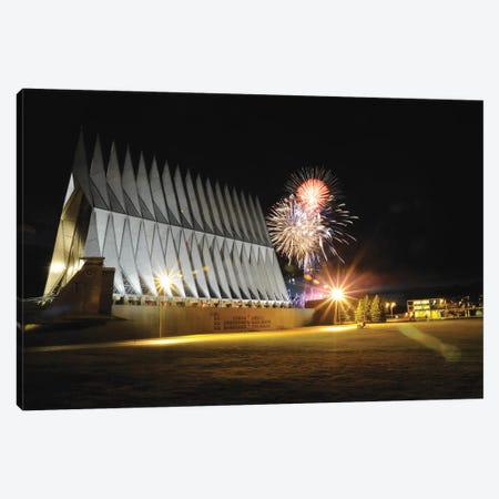 Fireworks Explode Over The Air Force Academy Cadet Chapel Canvas Print #TRK823} by Stocktrek Images Canvas Art Print