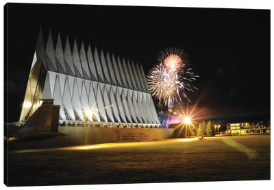 Fireworks Explode Over The Air Force Academy Cadet Chapel Canvas Art Print