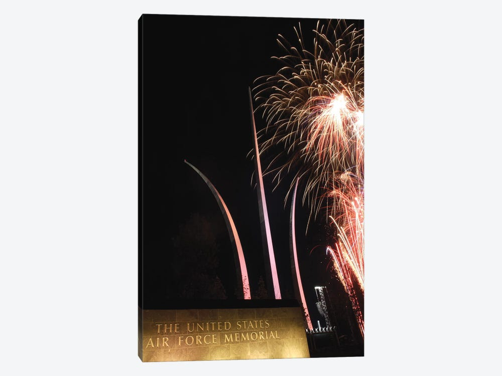 Fireworks Light Up The Air Force Memorial At Arlington, Virginia by Stocktrek Images 1-piece Canvas Print