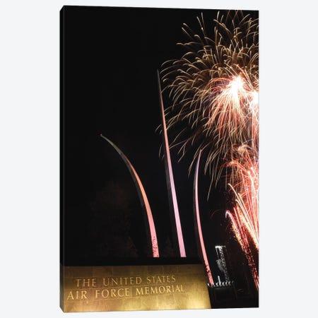 Fireworks Light Up The Air Force Memorial At Arlington, Virginia Canvas Print #TRK825} by Stocktrek Images Canvas Wall Art