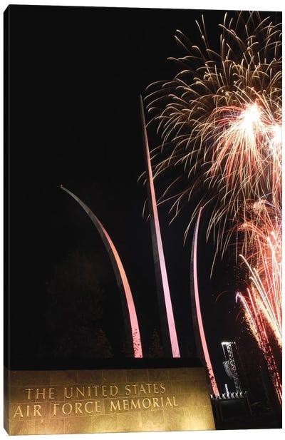 Fireworks Light Up The Air Force Memorial At Arlington, Virginia Canvas Art Print