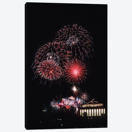 Fireworks Light Up The Night Sky Above The Lincoln Memorial Canvas Print #TRK826} by Stocktrek Images Canvas Art