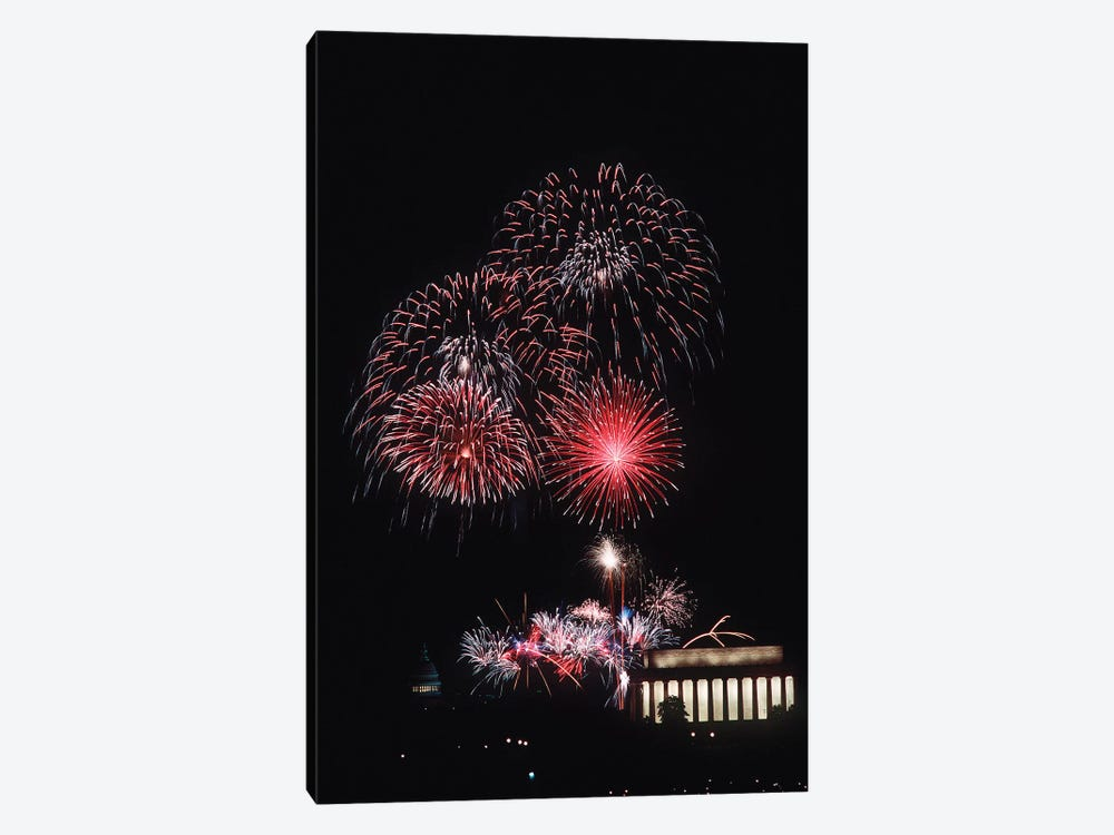 Fireworks Light Up The Night Sky Above The Lincoln Memorial by Stocktrek Images 1-piece Canvas Artwork