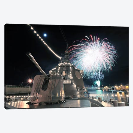 Fireworks Light Up The Sky Behind The Guided Missile Destroyer JS Kirishima Canvas Print #TRK827} by Stocktrek Images Canvas Art