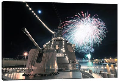 Fireworks Light Up The Sky Behind The Guided Missile Destroyer JS Kirishima Canvas Art Print