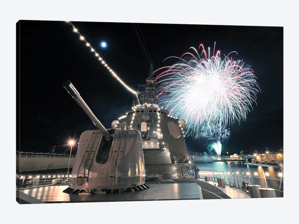 Fireworks Light Up The Sky Behind The Guided Missile Destroyer JS Kirishima by Stocktrek Images 1-piece Canvas Art Print