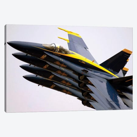 Four Blue Angels F/A-18C Hornets Perform The Echelon Parade Maneuver Canvas Print #TRK829} by Stocktrek Images Canvas Print