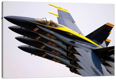 Four Blue Angels F/A-18C Hornets Perform The Echelon Parade Maneuver Canvas Art Print