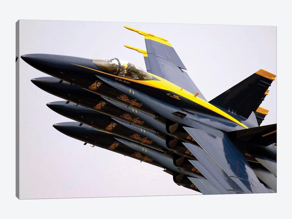 Four Blue Angels F/A-18C Hornets Perform The Echelon Parade Maneuver by Stocktrek Images 1-piece Canvas Print