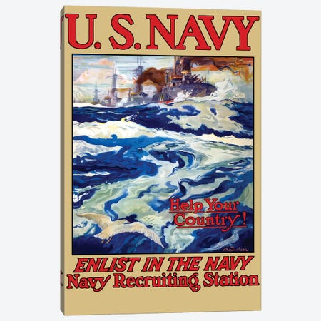 Vintage WWI Poster Of Battleships At Sea Canvas Print #TRK82} by John Parrot Canvas Art