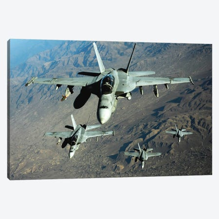 Four US Navy F/A-18 Hornet Aircraft Fly Over Mountains In Afghanistan Canvas Print #TRK830} by Stocktrek Images Canvas Art