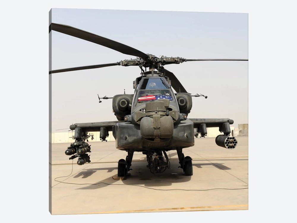 Front View Of An AH-64D Apache Longbow by Stocktrek Images 1-piece Canvas Artwork