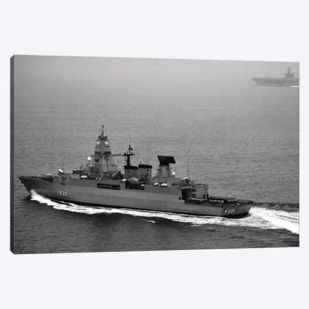 German Navy Frigate FGS Hessen Cruises Alongside USS Harry S. Truman Canvas Print #TRK832} by Stocktrek Images Canvas Wall Art