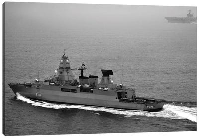 German Navy Frigate FGS Hessen Cruises Alongside USS Harry S. Truman Canvas Art Print